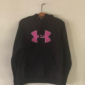 Under Armour Pullover Hoodie Black & Pink Large L